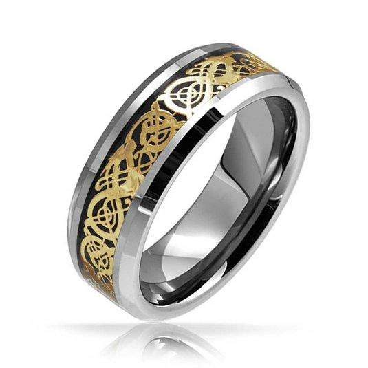 Gold norse dragon knotwork viking ring