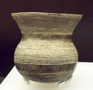 Earthenware vessel, part of a beaker culture pottery collection from Ciempozuelos (Community of Madrid, Spain). Made of black clay between 1970 and 1470 BC (Bronze Age). National Archaeological Museum of Spain (Madrid).