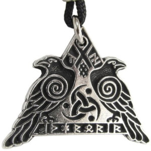 huginn and muninn raven necklace