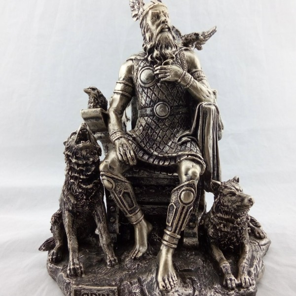 Odin Statue with Wolves and Ravens